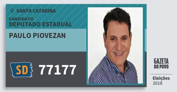Santinho Paulo Piovezan 77177 (SOLIDARIEDADE) Deputado Estadual | Santa Catarina | Eleições 2018