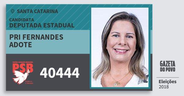 Santinho Pri Fernandes Adote 40444 (PSB) Deputada Estadual | Santa Catarina | Eleições 2018