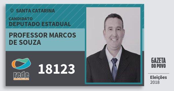 Santinho Professor Marcos de Souza 18123 (REDE) Deputado Estadual | Santa Catarina | Eleições 2018