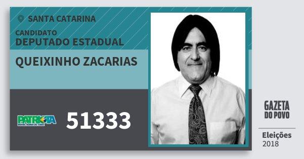 Santinho Queixinho Zacarias 51333 (PATRI) Deputado Estadual | Santa Catarina | Eleições 2018