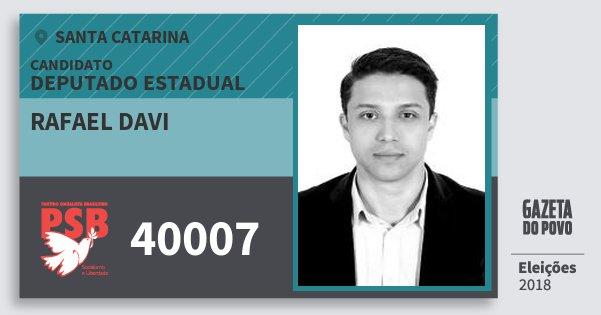 Santinho Rafael Davi 40007 (PSB) Deputado Estadual | Santa Catarina | Eleições 2018