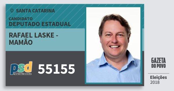 Santinho Rafael Laske - Mamão 55155 (PSD) Deputado Estadual | Santa Catarina | Eleições 2018