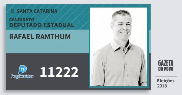 Santinho Rafael Ramthum 11222 (PP) Deputado Estadual | Santa Catarina | Eleições 2018