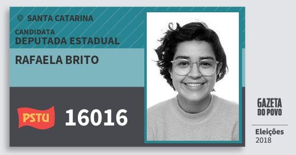 Santinho Rafaela Brito 16016 (PSTU) Deputada Estadual | Santa Catarina | Eleições 2018