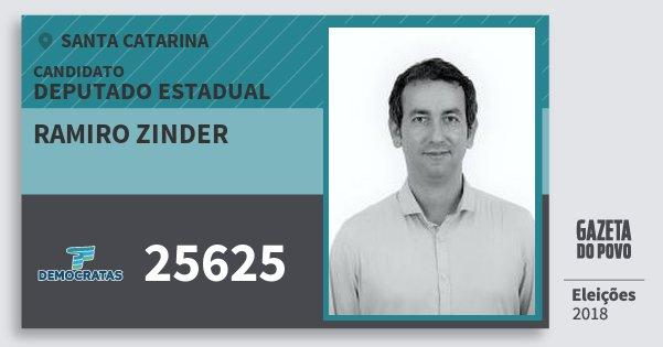 Santinho Ramiro Zinder 25625 (DEM) Deputado Estadual | Santa Catarina | Eleições 2018