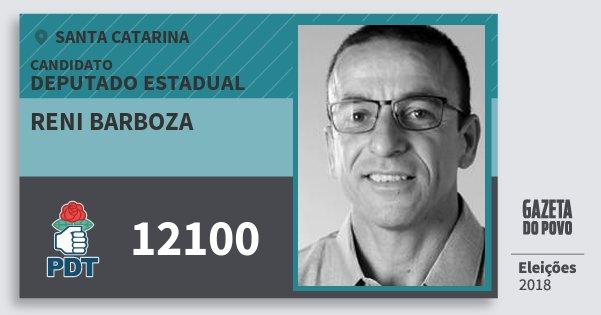 Santinho Reni Barboza 12100 (PDT) Deputado Estadual | Santa Catarina | Eleições 2018