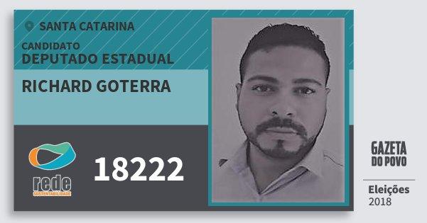 Santinho Richard Goterra 18222 (REDE) Deputado Estadual | Santa Catarina | Eleições 2018