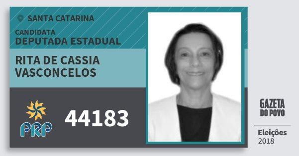 Santinho Rita de Cassia Vasconcelos 44183 (PRP) Deputada Estadual | Santa Catarina | Eleições 2018