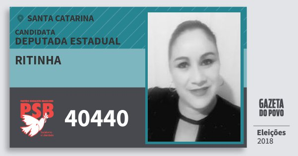 Santinho Ritinha 40440 (PSB) Deputada Estadual | Santa Catarina | Eleições 2018