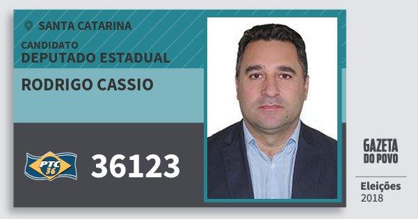 Santinho Rodrigo Cassio 36123 (PTC) Deputado Estadual | Santa Catarina | Eleições 2018