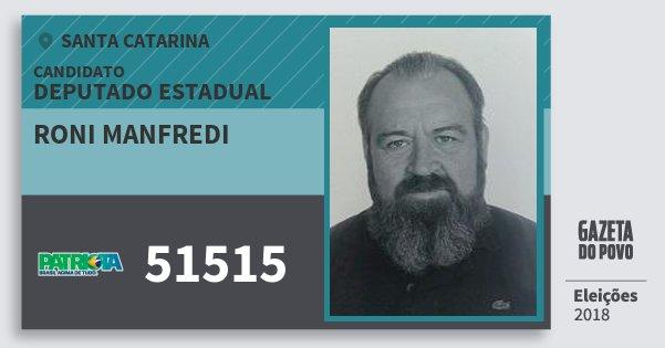 Santinho Roni Manfredi 51515 (PATRI) Deputado Estadual | Santa Catarina | Eleições 2018