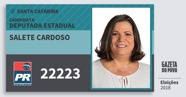 Santinho Salete Cardoso 22223 (PR) Deputada Estadual | Santa Catarina | Eleições 2018