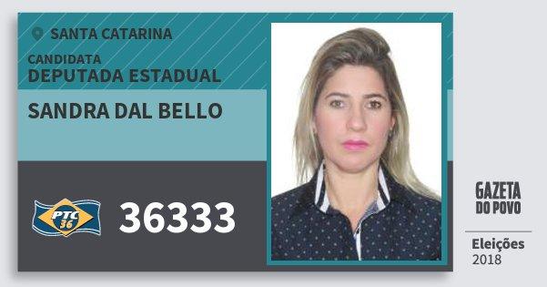 Santinho Sandra dal Bello 36333 (PTC) Deputada Estadual | Santa Catarina | Eleições 2018
