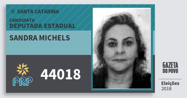 Santinho Sandra Michels 44018 (PRP) Deputada Estadual | Santa Catarina | Eleições 2018