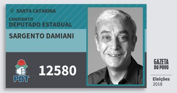 Santinho Sargento Damiani 12580 (PDT) Deputado Estadual | Santa Catarina | Eleições 2018