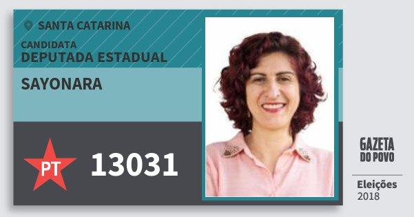Santinho Sayonara 13031 (PT) Deputada Estadual | Santa Catarina | Eleições 2018