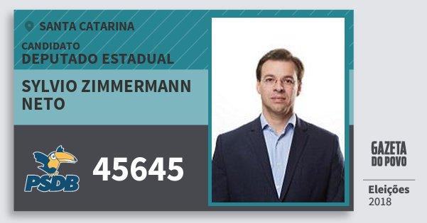 Santinho Sylvio Zimmermann Neto 45645 (PSDB) Deputado Estadual | Santa Catarina | Eleições 2018