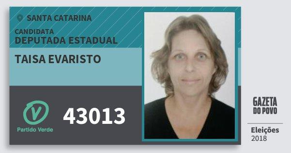 Santinho Taisa Evaristo 43013 (PV) Deputada Estadual   Santa Catarina   Eleições 2018