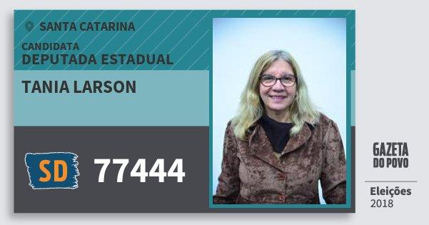 Santinho Tania Larson 77444 (SOLIDARIEDADE) Deputada Estadual | Santa Catarina | Eleições 2018