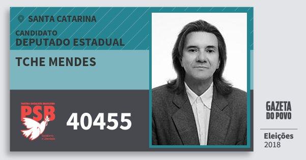 Santinho Tche Mendes 40455 (PSB) Deputado Estadual | Santa Catarina | Eleições 2018