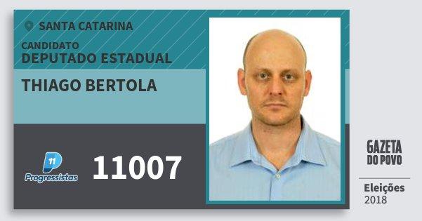 Santinho Thiago Bertola 11007 (PP) Deputado Estadual | Santa Catarina | Eleições 2018