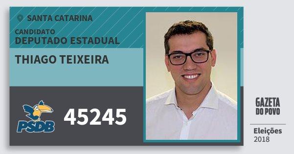 Santinho Thiago Teixeira 45245 (PSDB) Deputado Estadual | Santa Catarina | Eleições 2018