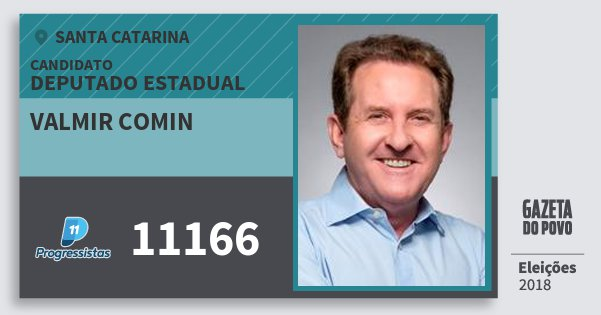 Santinho Valmir Comin 11166 (PP) Deputado Estadual | Santa Catarina | Eleições 2018
