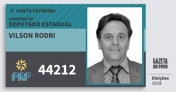 Santinho Vilson Rodri 44212 (PRP) Deputado Estadual | Santa Catarina | Eleições 2018
