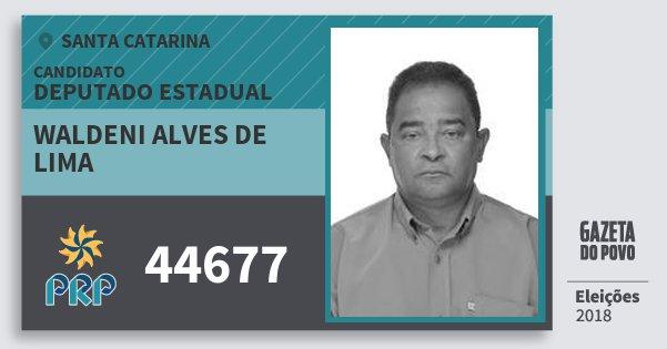 Santinho Waldeni Alves de Lima 44677 (PRP) Deputado Estadual | Santa Catarina | Eleições 2018
