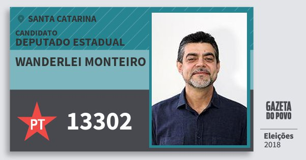 Santinho Wanderlei Monteiro 13302 (PT) Deputado Estadual | Santa Catarina | Eleições 2018