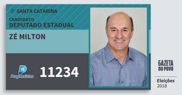 Santinho Zé Milton 11234 (PP) Deputado Estadual | Santa Catarina | Eleições 2018