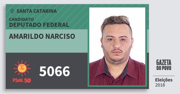 Santinho Amarildo Narciso 5066 (PSOL) Deputado Federal | Santa Catarina | Eleições 2018