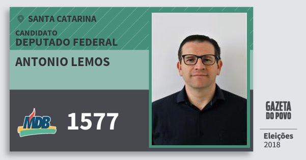 Santinho Antonio Lemos 1577 (MDB) Deputado Federal   Santa Catarina   Eleições 2018