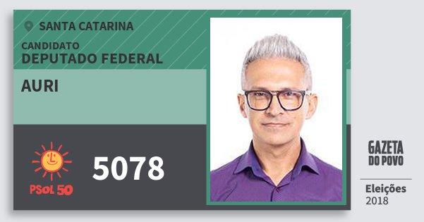 Santinho Auri 5078 (PSOL) Deputado Federal | Santa Catarina | Eleições 2018