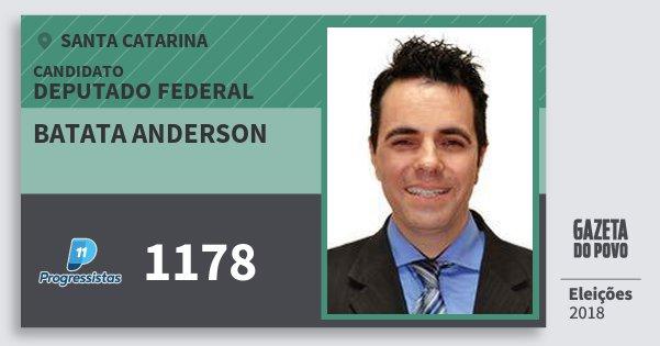 Santinho Batata Anderson 1178 (PP) Deputado Federal | Santa Catarina | Eleições 2018