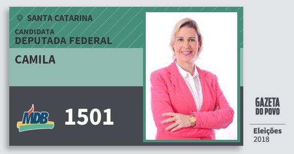 Santinho Camila 1501 (MDB) Deputada Federal | Santa Catarina | Eleições 2018