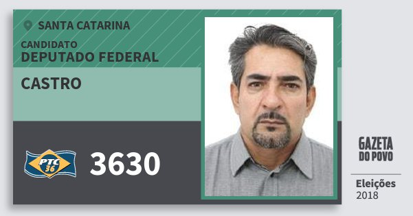 Santinho Castro 3630 (PTC) Deputado Federal | Santa Catarina | Eleições 2018