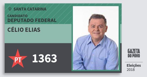 Santinho Célio Elias 1363 (PT) Deputado Federal | Santa Catarina | Eleições 2018
