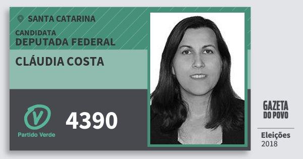 Santinho Cláudia Costa 4390 (PV) Deputada Federal | Santa Catarina | Eleições 2018