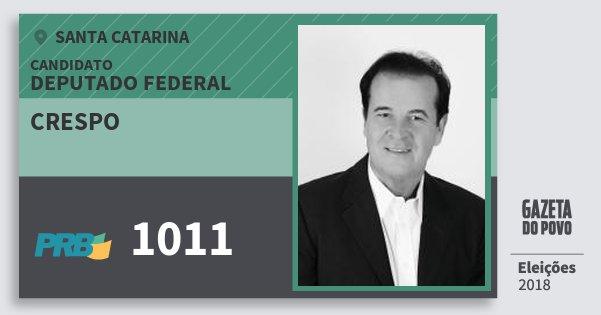 Santinho Crespo 1011 (PRB) Deputado Federal | Santa Catarina | Eleições 2018