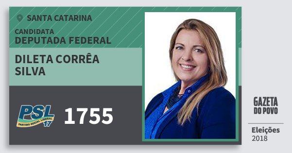Santinho Dileta Corrêa Silva 1755 (PSL) Deputada Federal | Santa Catarina | Eleições 2018