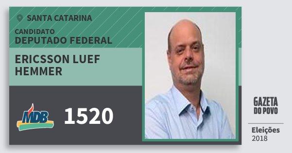 Santinho Ericsson Luef Hemmer 1520 (MDB) Deputado Federal | Santa Catarina | Eleições 2018