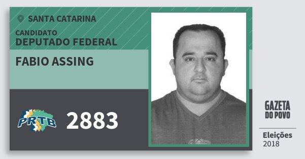 Santinho Fabio Assing 2883 (PRTB) Deputado Federal | Santa Catarina | Eleições 2018