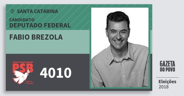 Santinho Fabio Brezola 4010 (PSB) Deputado Federal   Santa Catarina   Eleições 2018