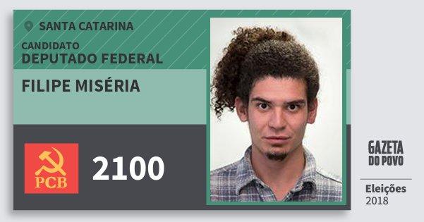 Santinho Filipe Miséria 2100 (PCB) Deputado Federal | Santa Catarina | Eleições 2018