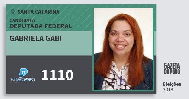 Santinho Gabriela Gabi 1110 (PP) Deputada Federal   Santa Catarina   Eleições 2018