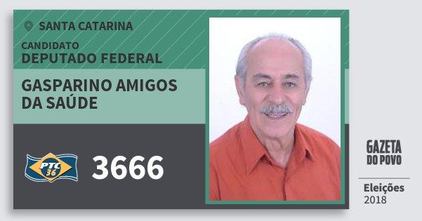 Santinho Gasparino Amigos da Saúde 3666 (PTC) Deputado Federal | Santa Catarina | Eleições 2018
