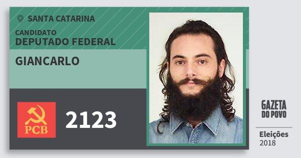 Santinho Giancarlo 2123 (PCB) Deputado Federal | Santa Catarina | Eleições 2018