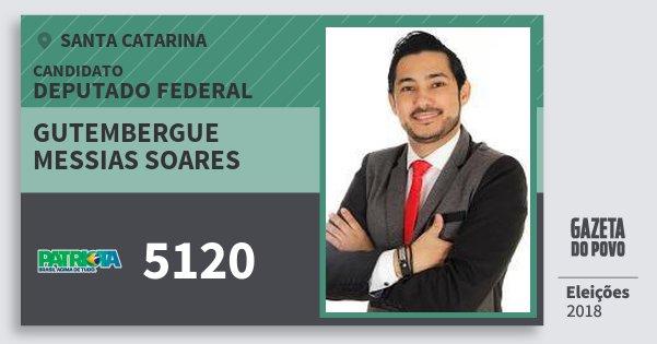 Santinho Gutembergue Messias Soares 5120 (PATRI) Deputado Federal   Santa Catarina   Eleições 2018