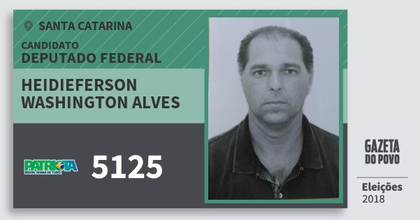 Santinho Heidieferson Washington Alves 5125 (PATRI) Deputado Federal | Santa Catarina | Eleições 2018
